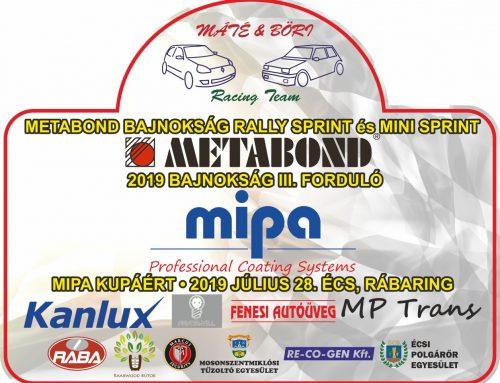 METABOND Rally sprint és Mini sprint Bajnokság MIPA kupa Écs Rábaring 2019.07.28.