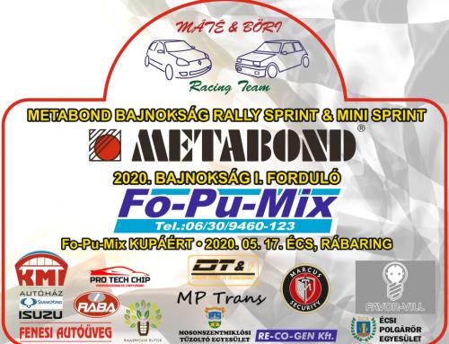 2020 Bajnokság I.forduló Fo-Pu-Mix RALLY SPRINT és MINI SPRINT KUPÁÉRT 2020.05.17.Écs, Rábaring